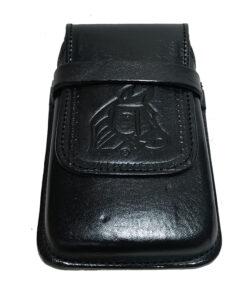Porta Celular en Cuero Liso Negro