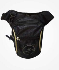 Fabricada en lona impermeable y resistente, consta de 3 compartimentos multiusos, cremalleras, correas ajustables para cintura y pierna, es expandible.